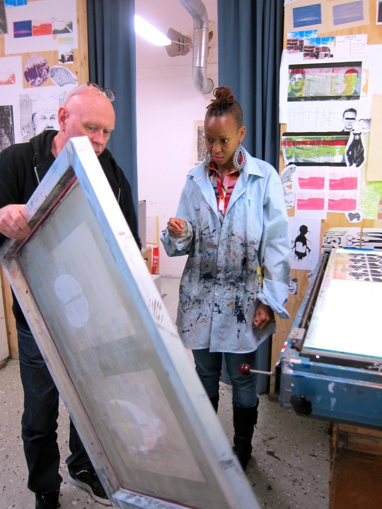 Matts Husser och Ng'endo Mukii på Grafikskolan i Stockholm